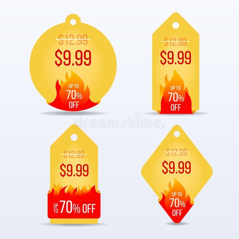 Varm prisbageuppsättning För försäljningsetikett för specialt erbjudande symbol för rabatt vektor illustrationer
