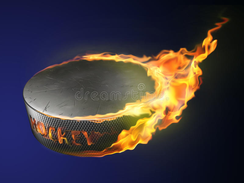 varm puck för burning mål stock illustrationer