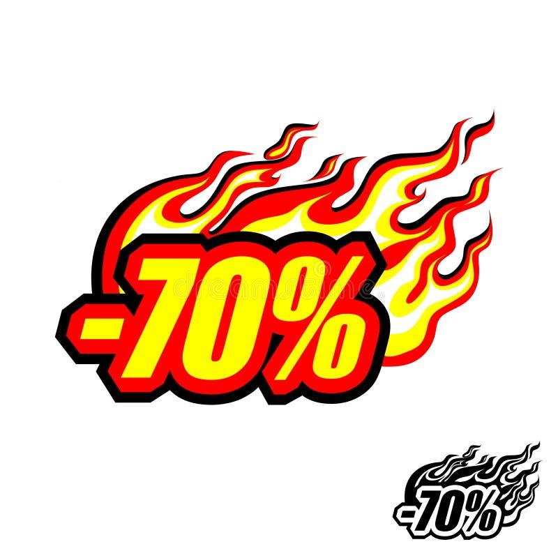 Varm rabatt av 70%, kulör flammande inskrift med en flamma stock illustrationer