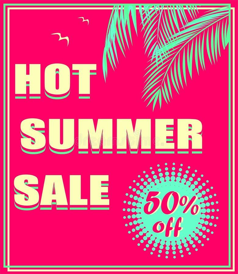 Varm rosa neonreklamblad med den varma sommarf?rs?ljningsbokst?ver, palmblad och seagullen Art d?costil royaltyfri illustrationer