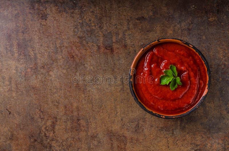 Varm sås från chilipeppar arkivbild