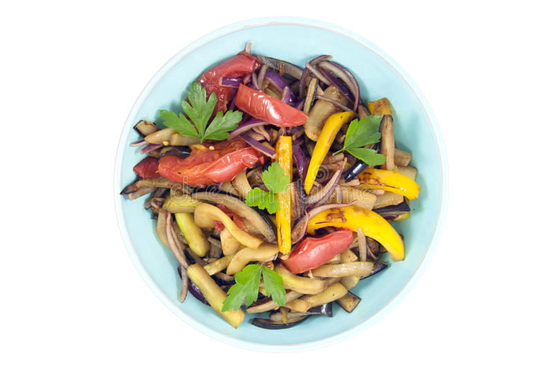 Varm sallad med aubergine arkivbild