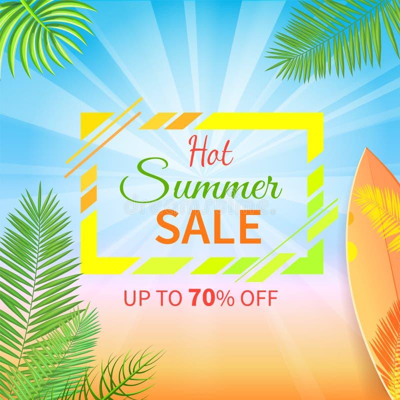 Varm sommar Sale upp till 70 procent av Promoaffischen stock illustrationer