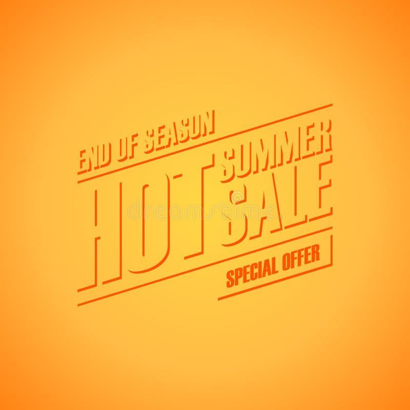 Varm sommarförsäljning Slut av banret för specialt erbjudande för säsong för affär, befordran och advertizing stock illustrationer