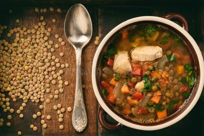 Varm soppa med den gröna linsen, höna, grönsaker och kryddor arkivfoto