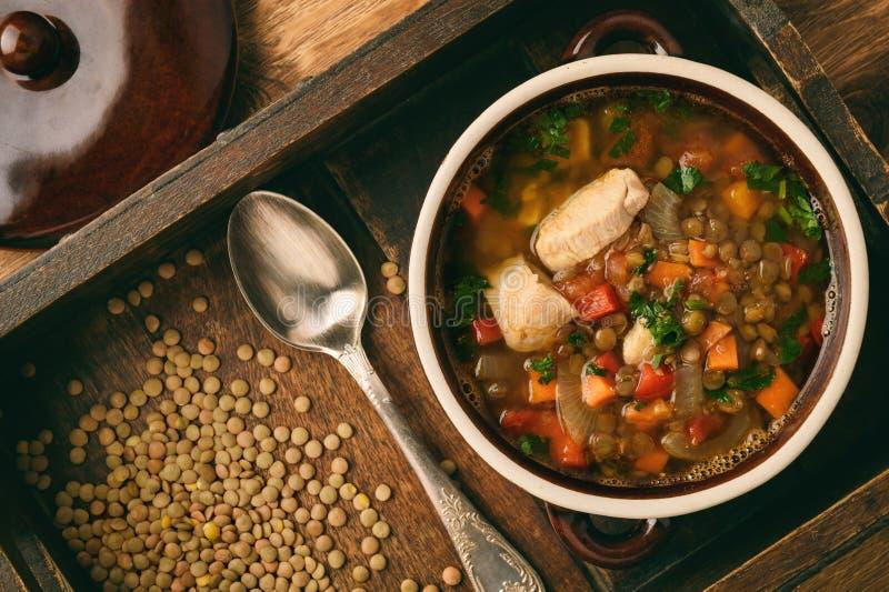 Varm soppa med den gröna linsen, höna, grönsaker och kryddor arkivfoton