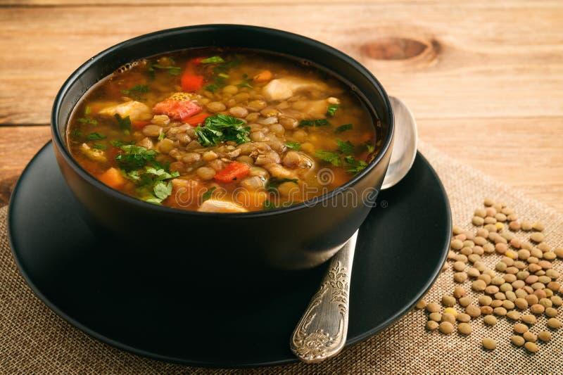 Varm soppa med den gröna linsen, höna, grönsaker och kryddor royaltyfri fotografi