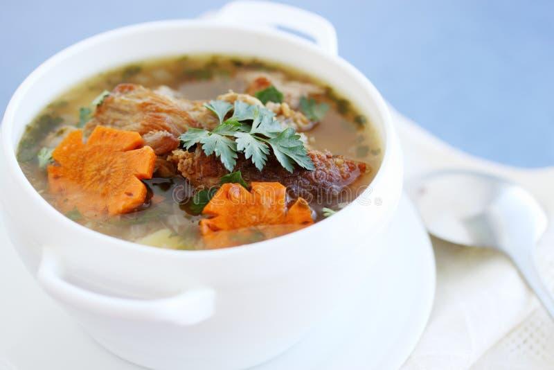 Varm soppa med kött arkivbilder