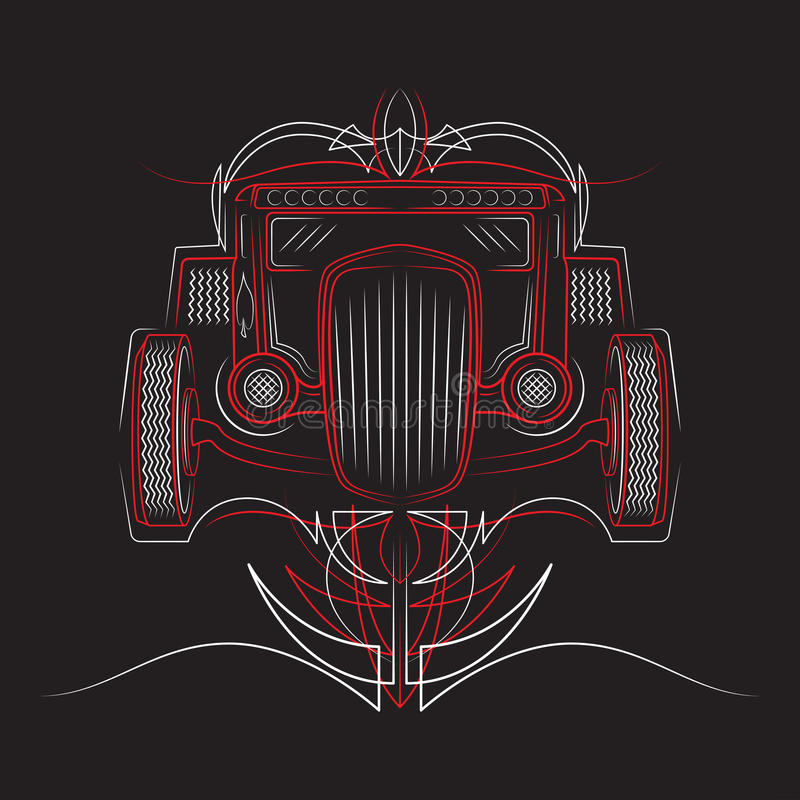 varm stång retro bil pinstripes Härlig kritstreckvektorillustration vektor illustrationer