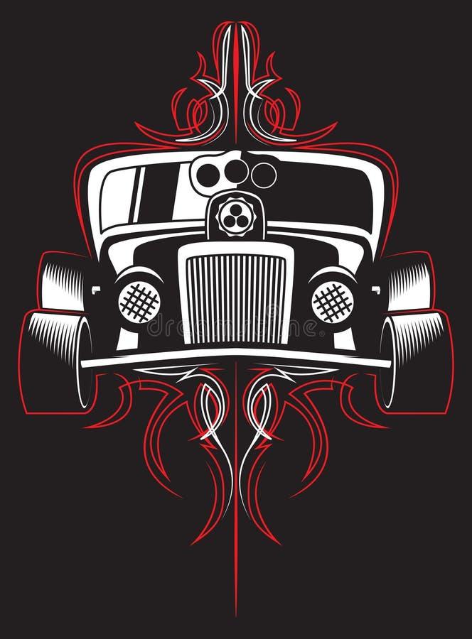 varm stång retro bil pinstripes vektor royaltyfri illustrationer