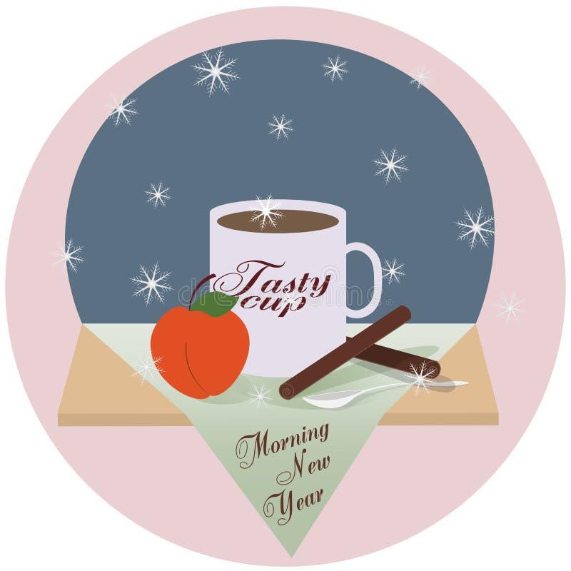 Varm stilleben för vinter med en läcker kopp och persika Morgon för ` s för nytt år vektor illustrationer