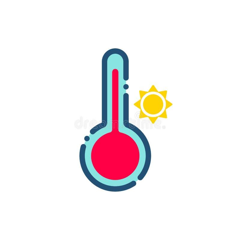 Varm symbolsöversikt för väder royaltyfri illustrationer