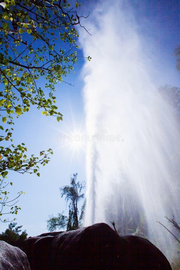 Varm v?r och soligt p? ljust - bl? himmel av sommar, kottegeyser med varmvatten och ?nga Doi PA Hom Pok National Park, huggtand,  royaltyfria bilder