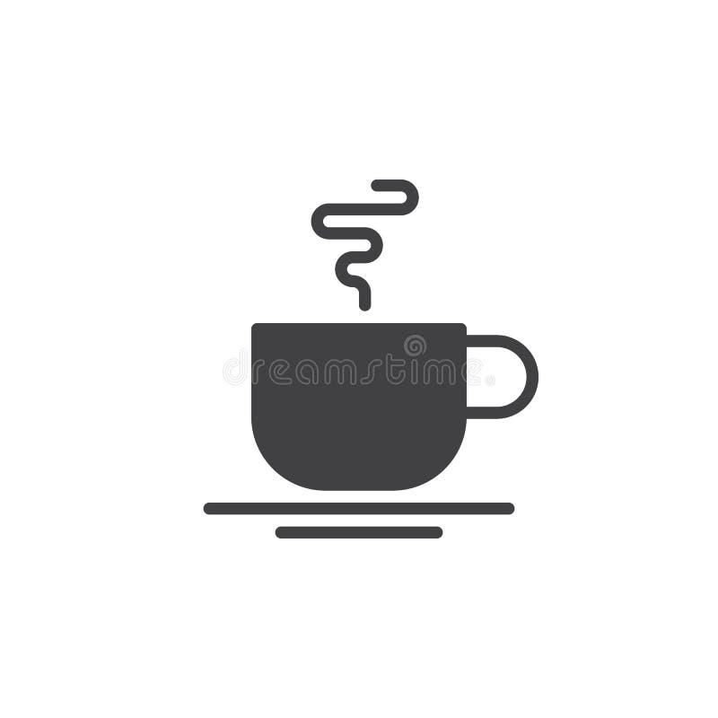 Varm vektor för symbol för kaffekopp, fyllt plant tecken, fast pictogram som isoleras på vit royaltyfri illustrationer