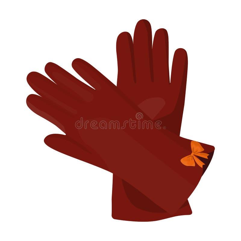 Varma burgundy handskar för händer Kvinnlig vintertillbehör Enkel symbol för kvinnakläder i symbol för tecknad filmstilvektor stock illustrationer