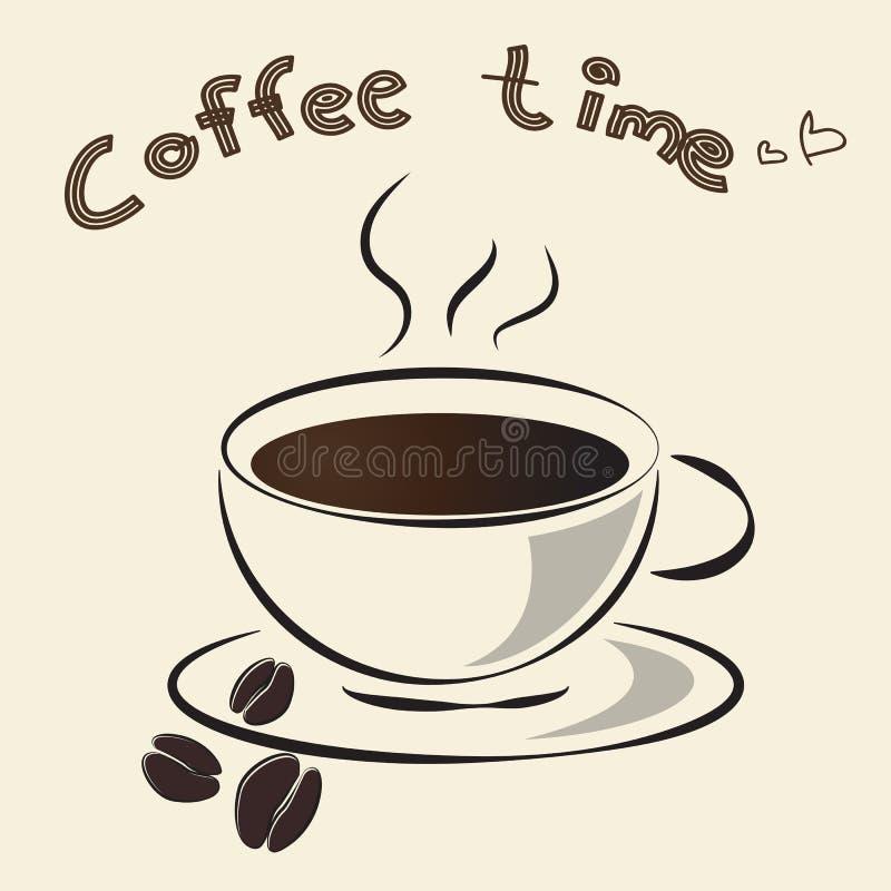 Varma designer för en vektor för kaffekopp, illustration för översiktskaffekopp stock illustrationer