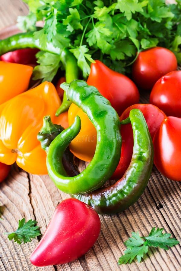 Varma gröna chilipeppar och nya tomater fotografering för bildbyråer
