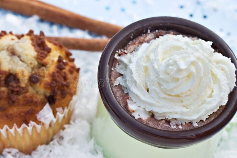 varma muffiner för kanelbrun kakao arkivfoton