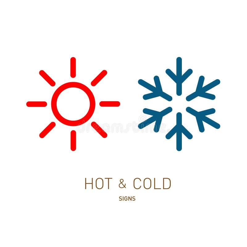 Varma och kalla sol- och snöflingasymboler royaltyfri illustrationer