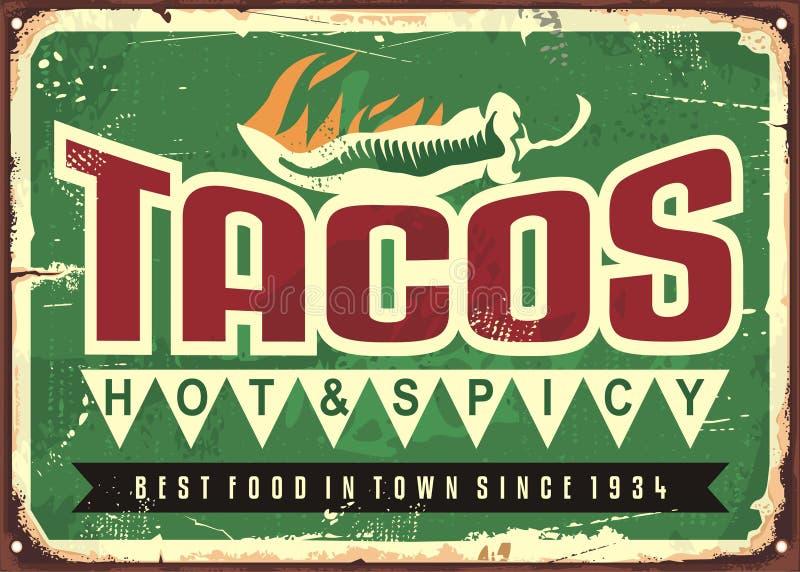 Varma och kryddiga taco annonserar royaltyfri illustrationer