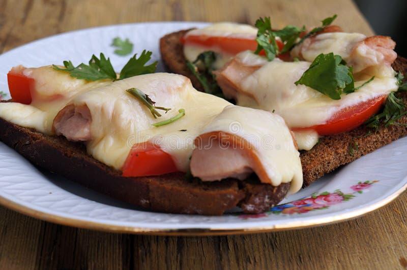 Varma ost, tomater och korvsm?rg?sar p? r?gbr?d royaltyfria foton
