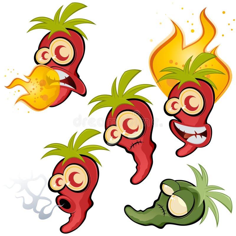 varma peppar för chili stock illustrationer