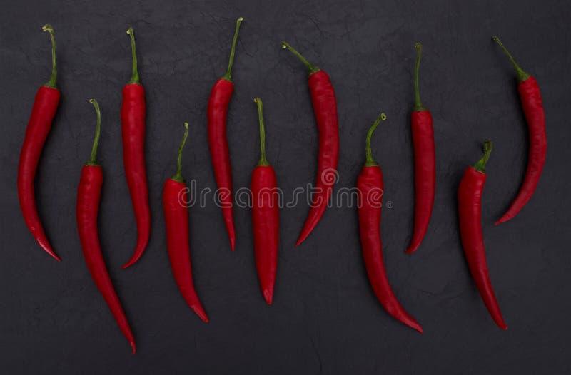 Varma röda peppar på svart kritiserar bakgrund royaltyfria foton