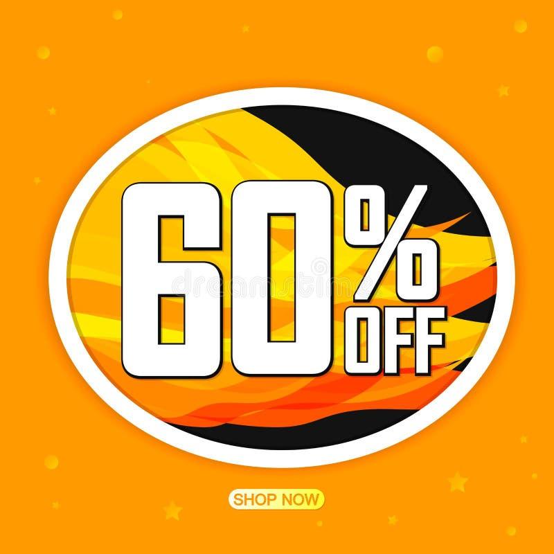 Varma Sale 60% av, mall för befordranbanerdesign, rabattetikett, stort erbjudande, vektorillustration royaltyfri illustrationer