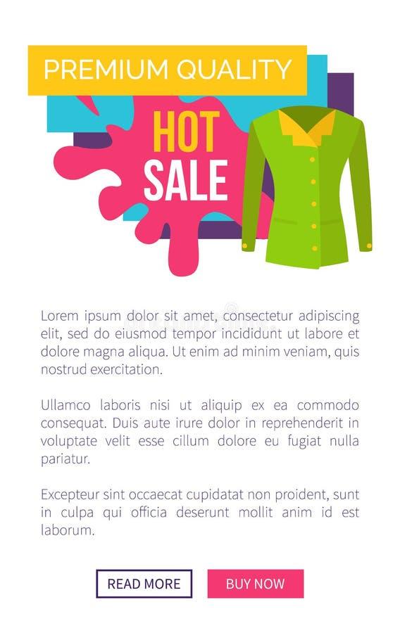 Varma Sale på produkter av den högvärdiga kvalitets- logotypen vektor illustrationer