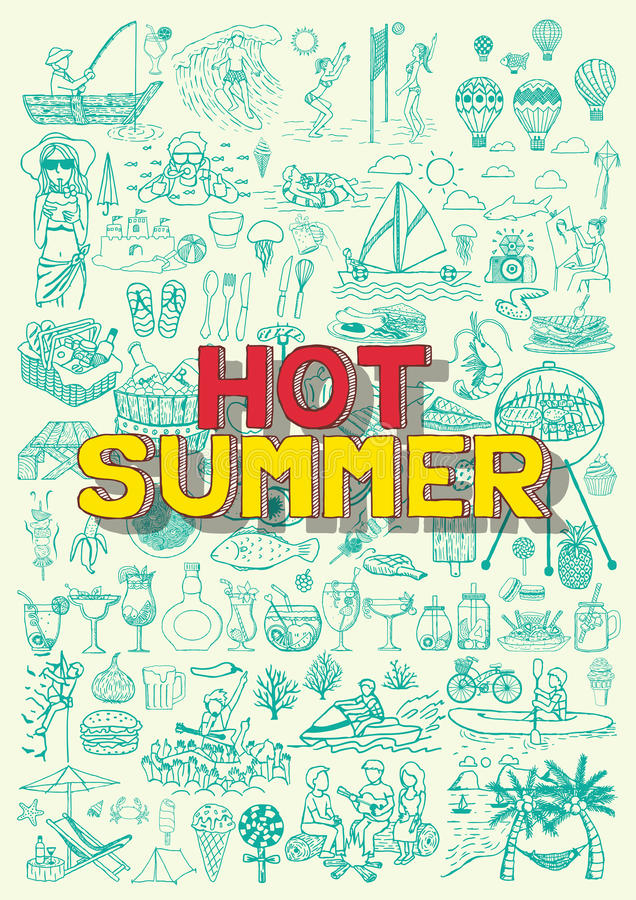 Varma sommaraktiviteter klottrar som fiske, stranddalbollen, BBQ-partiet, fiestaen för ballongen för varm luft, dykning som cykla stock illustrationer