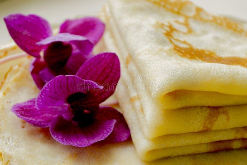 Varma stekte pannkakor royaltyfri fotografi