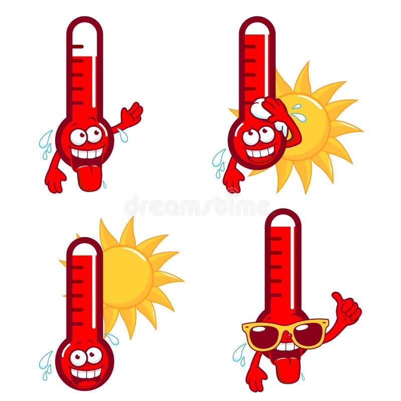Varma termometrar för tecknad film vektor illustrationer