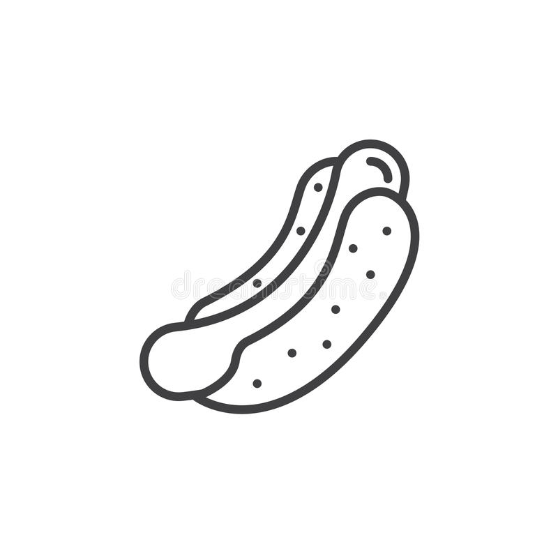 Varmkorv lagad mat korvsmörgåslinje symbol, översiktsvektortecken, linjär pictogram som isoleras på vit stock illustrationer