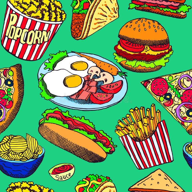Varmkorv med en korv, hamburgaren, smörgåsen, taco, popcorn, chiper, fransmansmåfiskar, pizza med salami, bacon och ägg på platta stock illustrationer