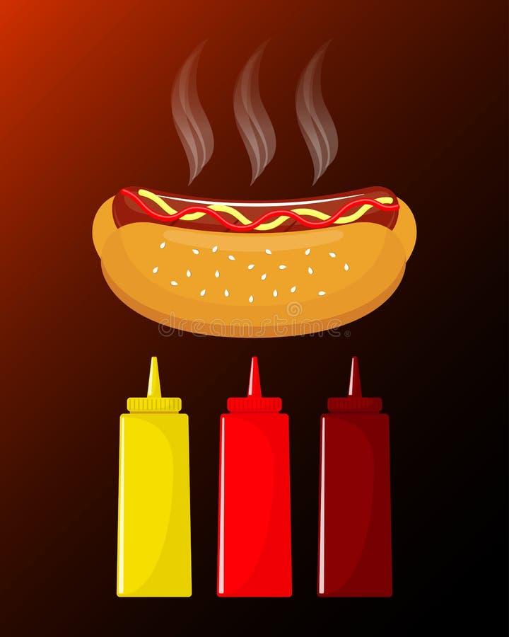Varmkorv med korven och ketchup Läckra varmkorv- och såsflaskor med ketchup, senap, grillfestsås klassiskt snabbmat Ve vektor illustrationer