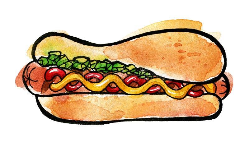 Varmkorv med senap, ketchup och den gröna njutningen royaltyfri illustrationer