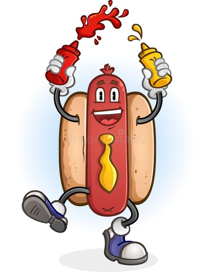 Varmkorv som sprutar ketchup- och senaptecknad filmteckenet stock illustrationer