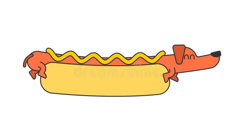 Varmkorvtax och bulle Ketchup och senap Snabbmathusdjur stock illustrationer