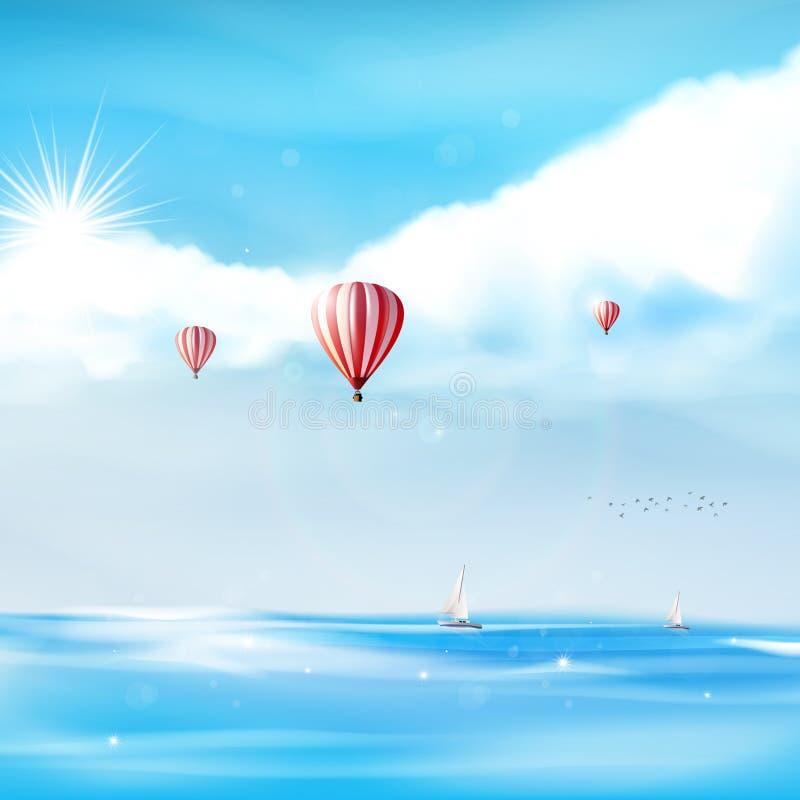 Varmluftsballonger i den molniga blåa himlen, realistisk (inte-spårad) vektorillustration, vektor illustrationer