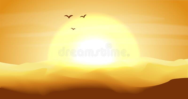 Varmt guling och orange tömmer panorama- landskap för öken med dyn, och solnedgången, solnedgång i guldguling färgar Lugna öken vektor illustrationer