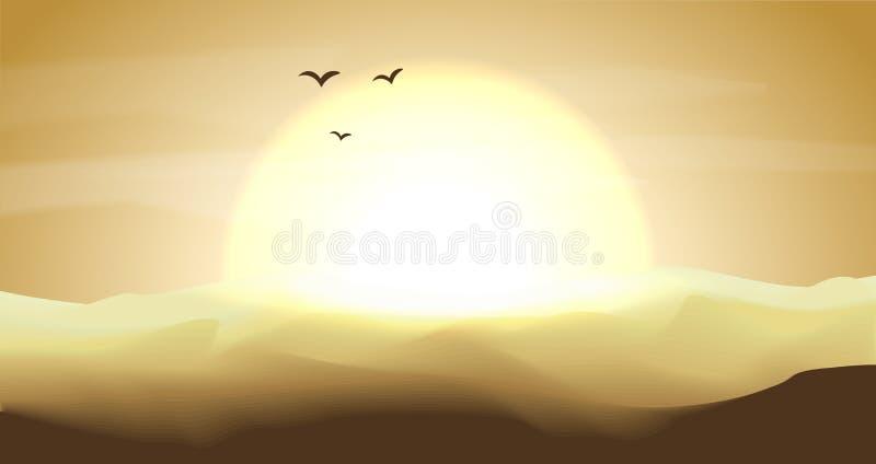 Varmt guling och orange tömmer panorama- landskap för öken med dyn, och solnedgången, solnedgång i guldguling färgar Lugna öken royaltyfri illustrationer