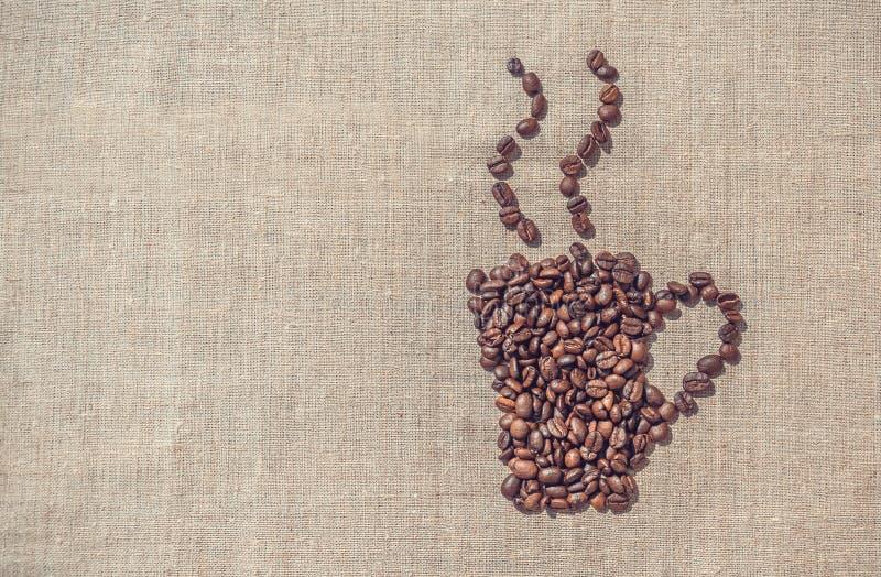 varmt kaffe Dekorativ bakgrund för menyn arkivfoto