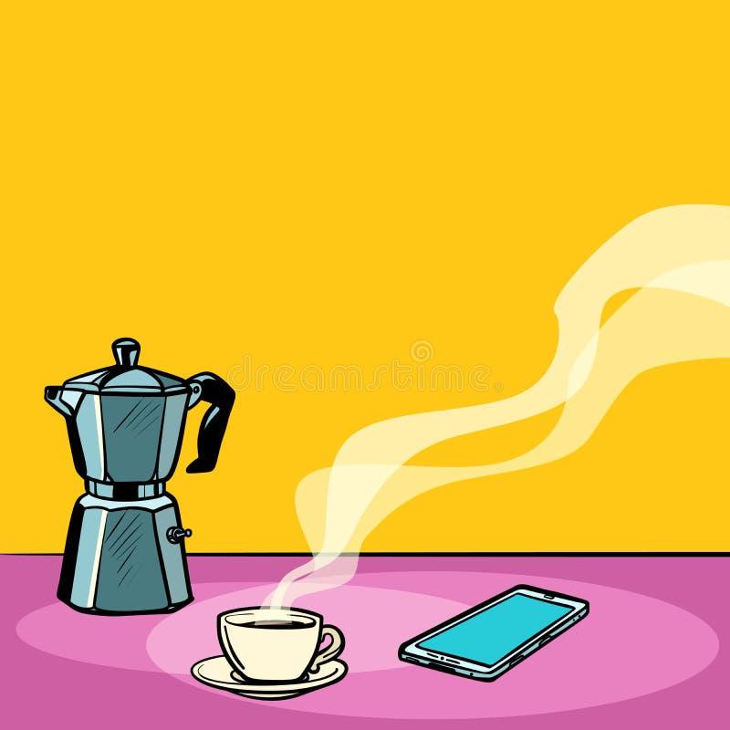 Varmt kaffe för morgon på tabellen royaltyfri illustrationer