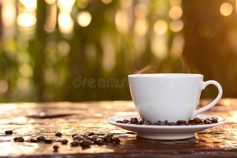 Varmt kaffe i koppen på suddigt mörker - grön naturbakgrund arkivbild