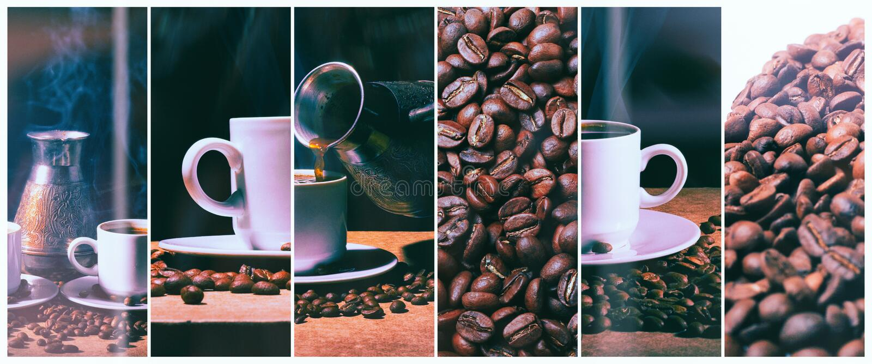 varmt kaffe Kaffeturk och kopp av varmt kaffe med kaffebönor royaltyfri bild