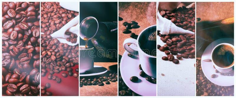 varmt kaffe Kaffeturk och kopp av varmt kaffe med kaffebönor arkivbild
