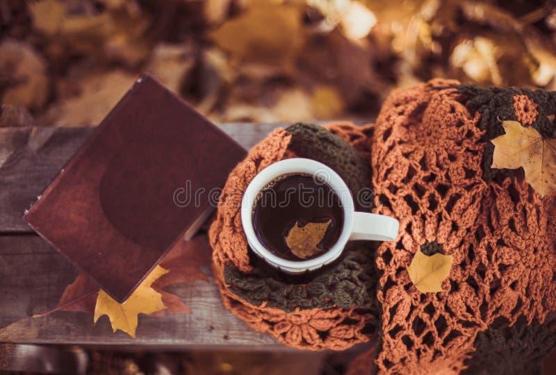 Varmt kaffe och röd bok med höstsidor på säsongsbetonad wood bakgrund - koppla av begreppet royaltyfria foton