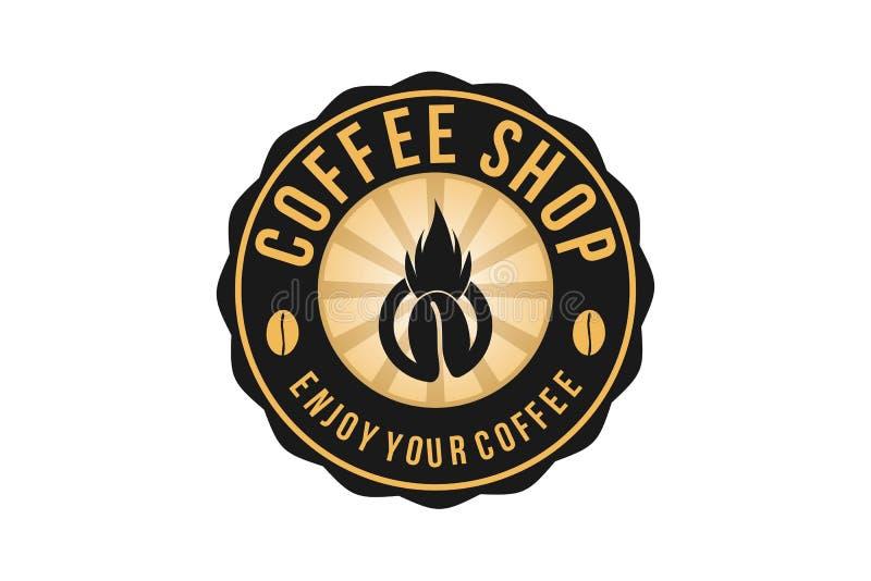 Varmt kaffe, tappning förser med märke Logo Designs Inspiration, vektorillustration royaltyfri illustrationer