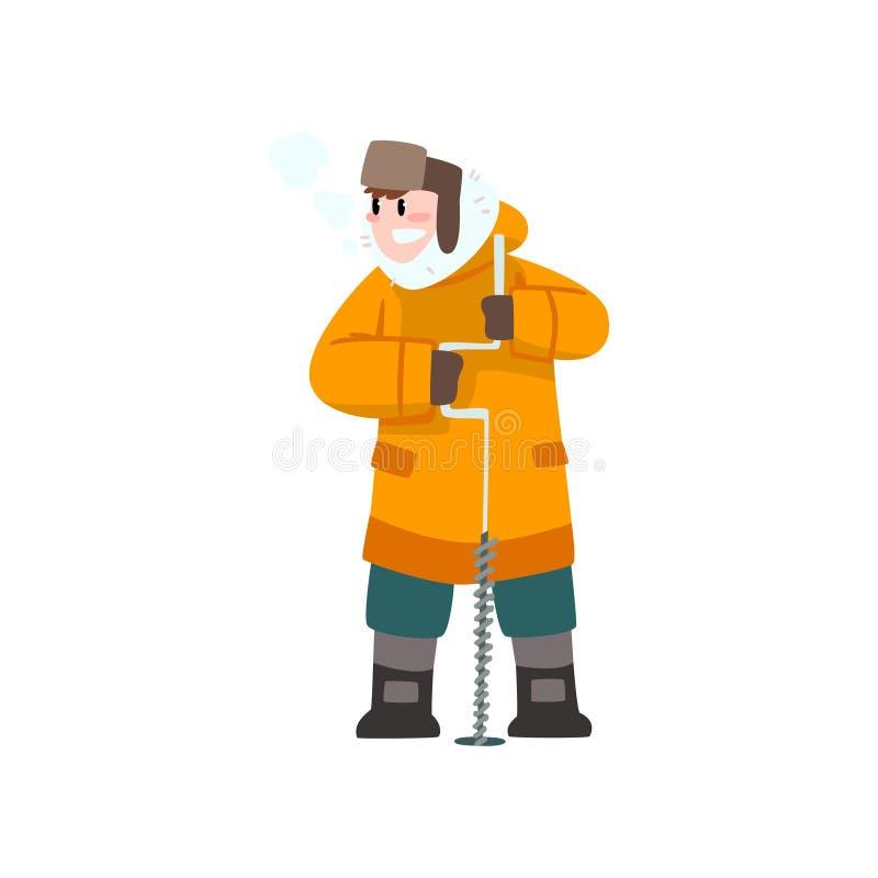 Varmt klädd man med isdrillborren, utomhus- fritid, extremal isvinter som fiskar vektorillustrationen royaltyfri illustrationer