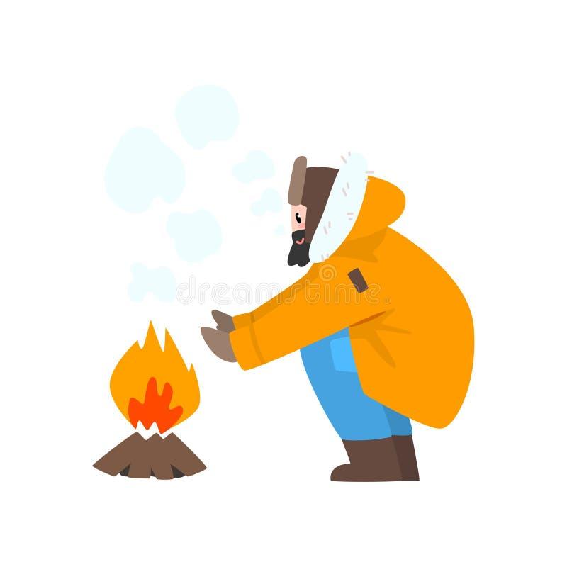 Varmt klädd man som värme hans händer vid branden, utomhus- fritid, extremal isvinter som fiskar vektorillustrationen stock illustrationer